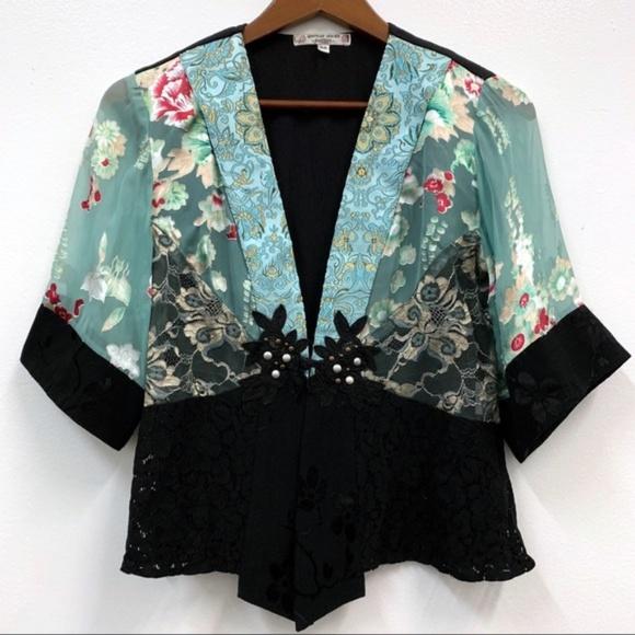 Spencer Alexis Kimono Top Cardigan Jacket Sequins Lace Silk Petite Medium USA Made